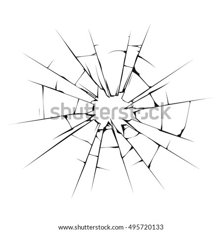 Crushed glass illustration. Isolated on white background. Vector illustration, eps 10.