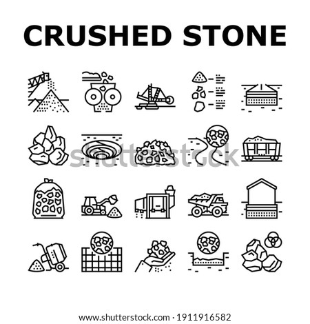 Crushed Stone Mining Collection Icons Set Vector. Heavy Machinery And Excavator, Dump Truck And Railway Carriage, Stone Mine Equipment Black Contour Illustrations