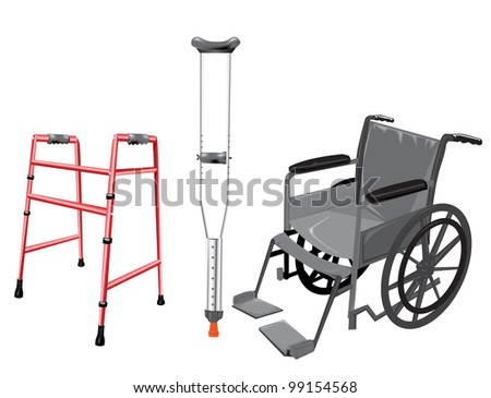 Crutch and wheelchair