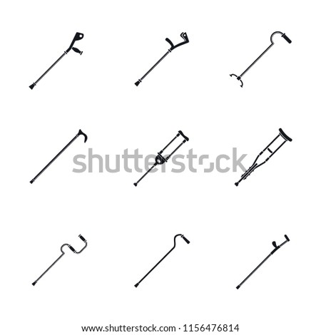 Crutches injury support care leg reliance icons set. Simple illustration of 9 crutches injury support care leg reliance vector icons for web