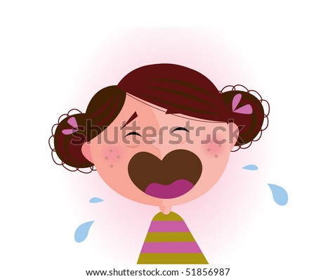 stock vector : Crying baby girl. Crying small child. Vector cartoon