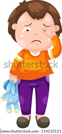 crying boy illustration vector