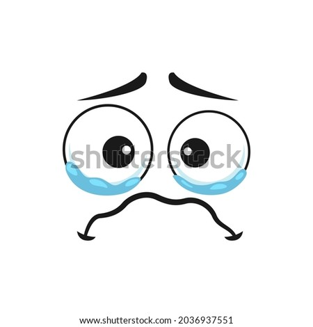 Crying emoji in bad mood isolated emoticon icon. Vector character face in bad mood, weeping emoticon, emoticon in sorrow, tears on face. Lonely feeling, grief and depression, dissatisfied smiley 商業照片 ©