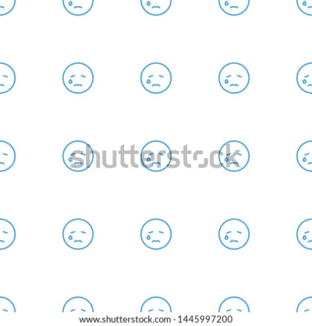 crying emot icon pattern seamless white background. Editable outline crying emot icon. crying emot icon pattern for web and mobile.