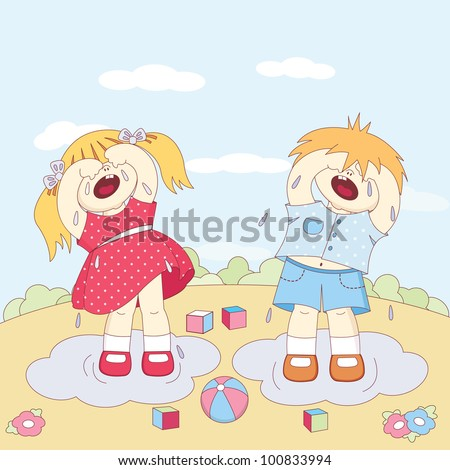 crying little boy and girl play