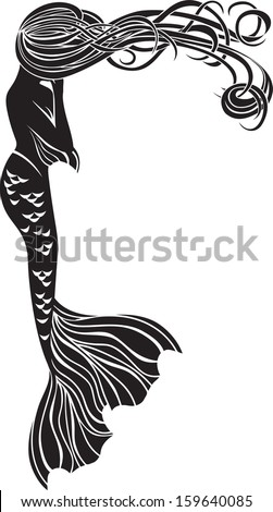 crying mermaid stencil for