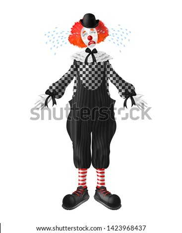 crying red hair clown with