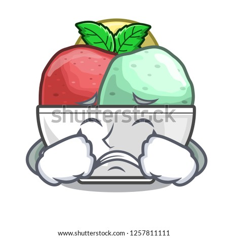 Crying scoops of sorbet in isolated mascot
