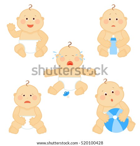 crying vector baby toddler with