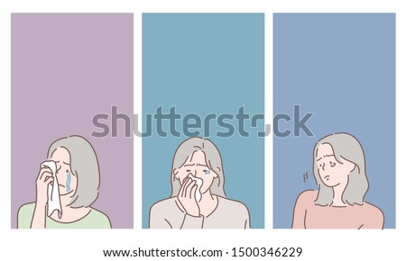 Crying woman face set. Sad girl. Hand drawn style vector design illustrations.
