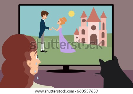 crying woman watching romantic