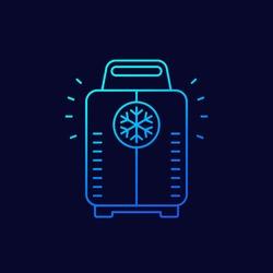 cryotherapy, cryosauna line vector icon