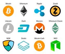 Crypto coins logo set