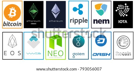 Crypto-currencies are logos. Bitcoin, Ethereum, Ripple, NEM,  IOTA, EOS, Waves,  NEO, Golem, DASH, Litecoin. Vector illustration