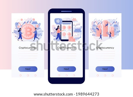 Crypto currency. Bitcoin, altcoin. Digital web money. Blockchain. Fintech industry. Business, finance, trading. Screen template for mobile, smartphone app. Modern flat cartoon style. Vector