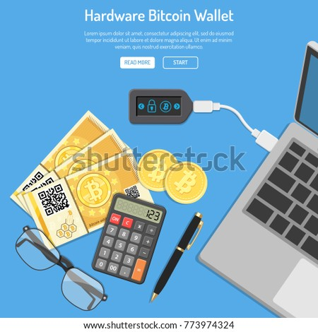 Crypto currency bitcoin technology concept. Hardware cryptocurrency wallet connect to laptop for trading, buying, selling, mining bitcoins. Isolated flat vector illustration