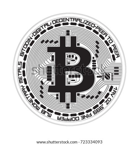 Crypto currency black coin with black lackered bitcoin symbol on obverse isolated on white background. Vector illustration. Use for logos, print products, page and web decor or other design.