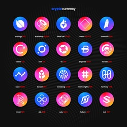 Crypto currency coins digital payment system blockchain concept. Cryptocurrency logo set collection isolated on dark background. Vector illustration
