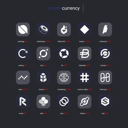 Crypto currency coins digital payment system blockchain concept. Cryptocurrency logo set collection isolated on white background. Vector illustration