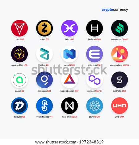 Crypto currency coins digital payment system blockchain concept. Cryptocurrency logo set collection isolated on white background. Vector illustration Stock photo ©