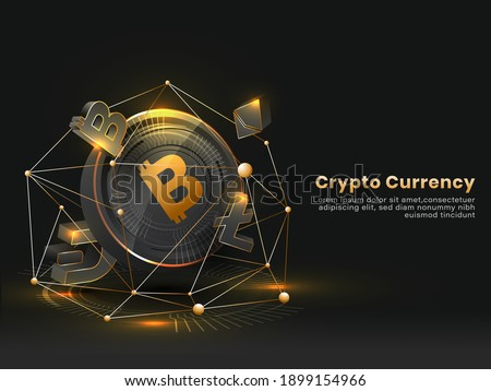 Crypto Currency Concept Based Poster Design In Black And Golden Color.