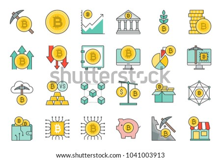 crypto currency concept, bitcoin accept store, block chain, bitcoin mining, currency exchange, wallet, cloud system, price up and price down, investment, filled outline icon setl