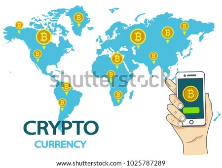 Global digital internet currency with world map design descargue crypto currency concept hand holding smart phone over golden bitcoins on world map modern digital money gumiabroncs Gallery