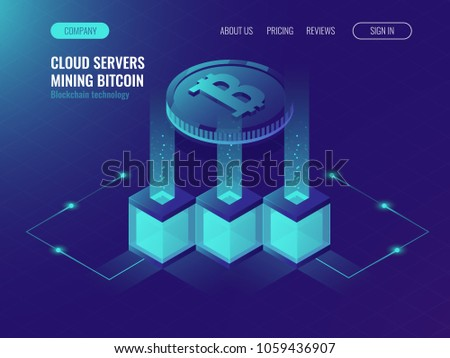 Crypto currency mining comcept, block chain technolofy, token system networking, server room rack ultraviolet isometric vector illustration