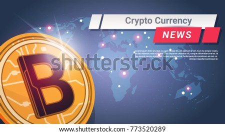 Crypto Currency News Golden Bitcoin Over World Map Digital Web Money Concept Vector Illustration