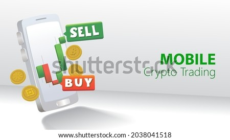 crypto currency trading on smartpohone. mobile crypto trading. vector illustration