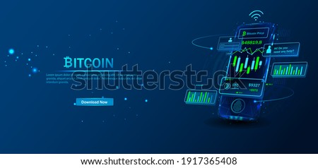 Crypto currency, virtual electronic, internet money.  Bitcoin currency. Crypto coin with growth chart. International stock exchange. Network bitcoin marketing vector banner.