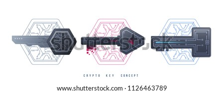 Crypto Keys Management Icons. Digital graphic symbols. Private keys for cryptocurrency. Global Digital technologies. Vector illustration
