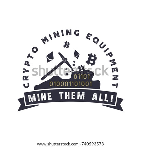 crypto mining equipment emblem. ...