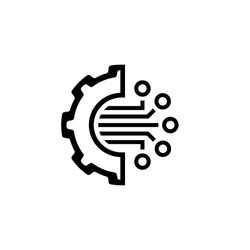 Crypto Technology Icon. Modern computer network technology sign. Digital graphic symbol. Gear with Bitcoin Sign. Concept design elements.