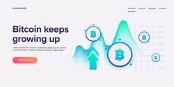Cryptocoin mining farm layout. Cryptocurrency and blockchain network business 3d vector illustration. Crypto currency exchange or transaction process background.