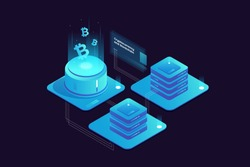 Cryptocurrency and Blockchain concept. Farm for mining bitcoins. Digital money market, investment, finance and trading. Perfect for web design, banner and presentation. Isometric vector illustration.