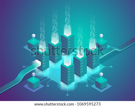 Cryptocurrency and blockchain. Farm for mining bitcoins. Digital money market, investment, finance and trading. Perfect for web design, banner and presentation. Isometric vector illustration.