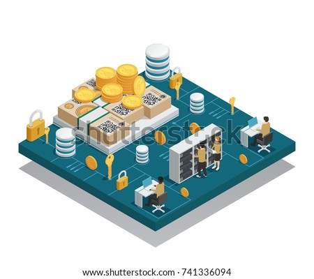 Cryptocurrency and blockchain isometric composition on blue platform with integrated circuit and miners near equipment vector illustration