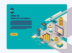 Cryptocurrency and Blockchain landing page. hero image illustration in flat and boxy style