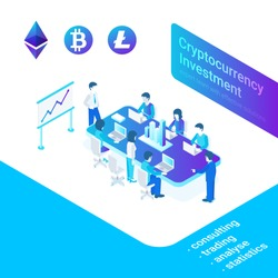 Cryptocurrency and blockchain market isometric concept. People traders analysts managers working discussing crypto finance investments. Flat Isometric style vector illustration.