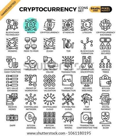 Cryptocurrency and blockchain technology concept icons set in modern line icon style for ui, ux, website, web, app graphic design