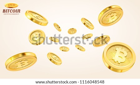 Cryptocurrency concept or electronic payments. Vector technology 3d illustration. Realistic gold coins explosion or splash on white background. Rain of golden bitcoins. Falling or flying money.
