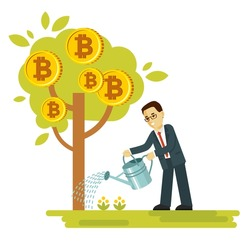 Cryptocurrency concept with businessman and money tree. Man watering tree with bitcoin symbols