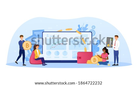 Cryptocurrency exchange. Blockchain technology, bitcoin, altcoins, cryptocurrency mining, finance, digital money market, cryptocoin wallet, crypto exchange Flat design vector illustration