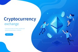 Cryptocurrency exchange concept banner. Can use for web banner, infographics, hero images. Flat isometric vector illustration isolated on white background.
