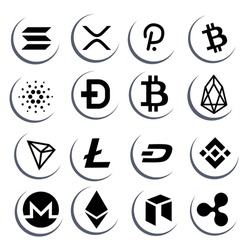 cryptocurrency icon logo black and white set, illustrations for crypto, finance, virtual, future, decentralized, altcoin, nft, defi.  vector eps 10