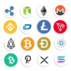 cryptocurrency icon logo set, illustrations for crypto, finance, virtual, future, decentralized, altcoin, nft, defi.  vector eps 10