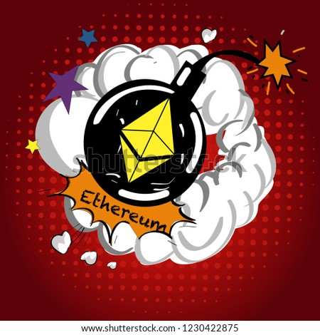Cryptocurrency icon with retro comic style on warm yellow background:ETH icon