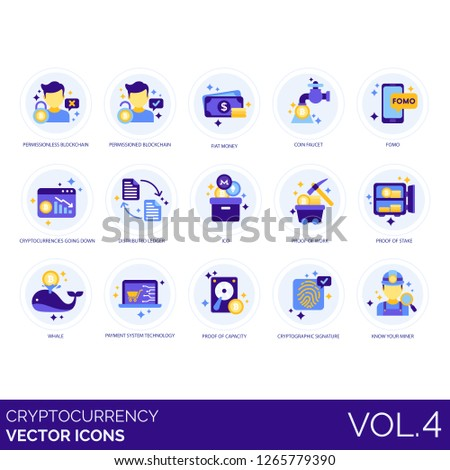 Cryptocurrency icons including permissioned, blockchain, fiat money, coin faucet, fomo, distributed, ICO, work, proof, stake, whale, payment system, capacity, cryptographic signature, know your miner.