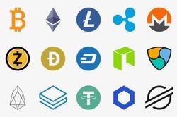 Cryptocurrency icons set. Bitcoin, Ethereum, Litecoin, Ripple, Monero, Zcash, Dogecoin, DASH, NEO, NEM, EOS, Stratis, Tether, ChainLink, Stellar.